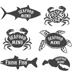seafood menu labels vector image
