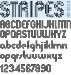Stripes retro style graphic font vector image