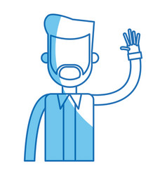 Bearded man with arm up blue line vector