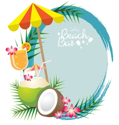Coconut and Cocktail Frame vector image vector image