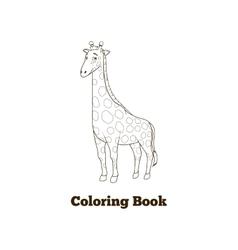 Coloring book giraffe african savannah animal vector