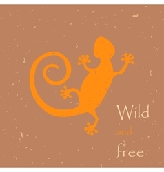 Decorative lizard with old print vector image