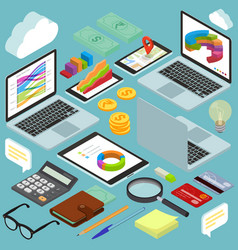 isometric busines office workspace elements vector image vector image