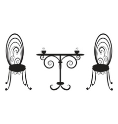 retro table and two chairs vector image vector image