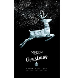 Christmas silver deer in low poly greeting card vector image vector image
