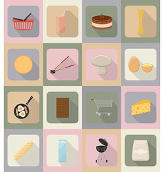 Food objects flat icons 19 vector