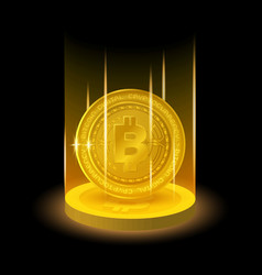 golden bitcoin in shining light effect vector image vector image