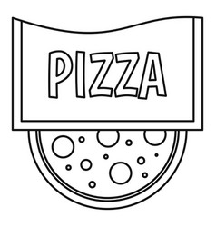 pizza restaurant label icon outline style vector image