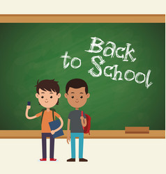 Back to school two student mobile book and bag vector
