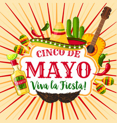 cinco de mayo mexican holiday greeting poster vector image vector image