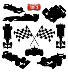 formula cars flag and icon vector image vector image