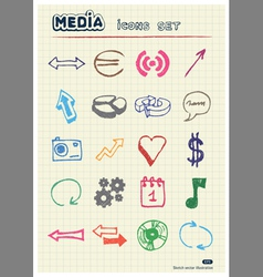 Media and arrows web icons set vector image vector image