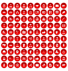 100 team work icons set red vector