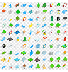 100 weather icons set isometric 3d style vector