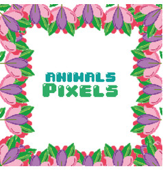 Animals pixels frame vector