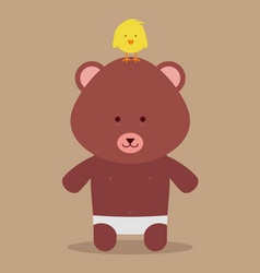 babear and chicken vector image