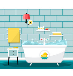 bathroom with bathtub and towels on tiles wall vector image