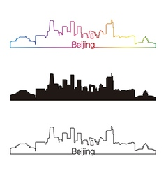 Beijing skyline linear style with rainbow vector