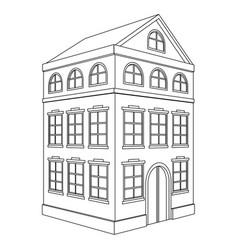 Building residential house 3 floors outline vector