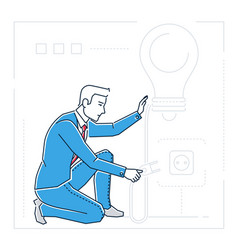 Businessman searching for ideas - line design vector