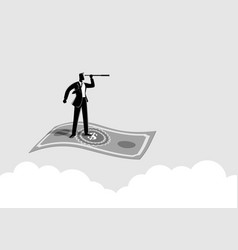 Businessman with telescope flying on banknote vector