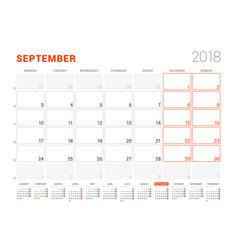 Calendar template for 2018 year september vector