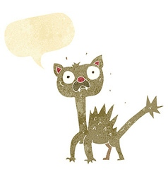 Cartoon scared cat with speech bubble vector