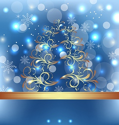 Celebration card with abstract Christmas floral vector image