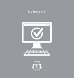 Check computer - flat minimal icon vector