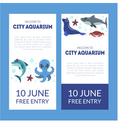 City aquarium exhibition banner templates set vector