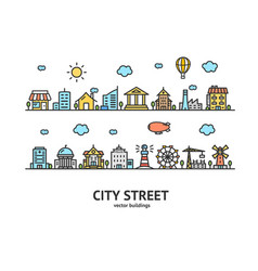 city street house building outline design vector image