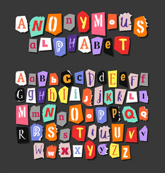 Colorful newspaper alphabet hand made anonymous vector