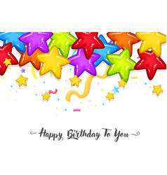 colourful stars birthday template vector image