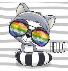 cool cartoon cute raccoon with sun glasses vector image