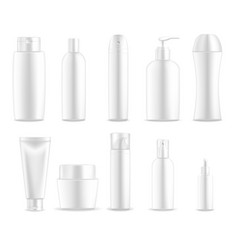 cosmetic package white plastic bottle containers vector image