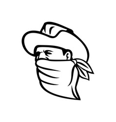 cowboy bandit or outlaw wearing face mask looking vector image