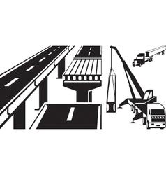Crane mounting concrete beam bridge vector