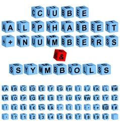 Cube alphabet numbers vector