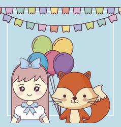 Cute fox with little girl happy birthday card vector