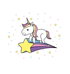 Cute unicorn with horn and star design vector