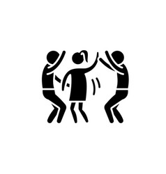 Dance party black icon sign on isolated vector