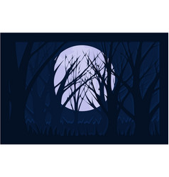 Dark background at night with branches and moon vector