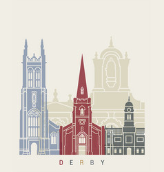 Derby skyline poster vector