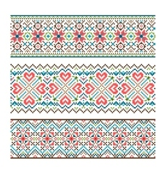 Embroidered handmade stitch Ukraine ethnic pattern vector image