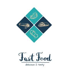 Fast food restaurant vintage menu design vector