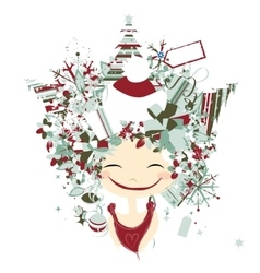 Female portrait with hairstyle for christmas vector image