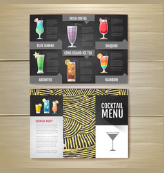 flat cocktail menu concept design vector image