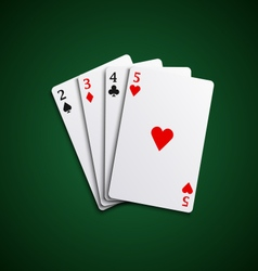 Four poker playing cards hand together vector