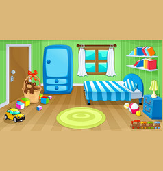 Funny bedroom with toys vector