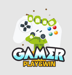gamer play win fist hand with joystick im vector image